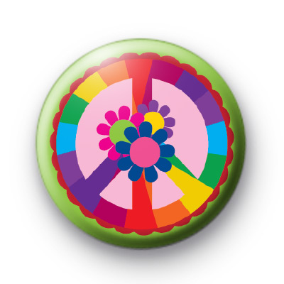 Rainbow Peace and Flowers Badge