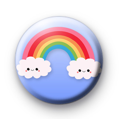 Extra Cute Rainbow Smiley Clouds Button Badge