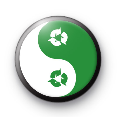 Green Recycle Ying Yang Badges