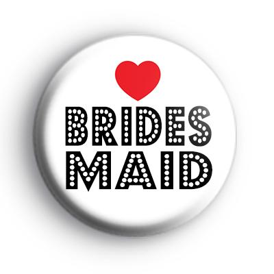 Red Love Heart Bridesmaid Wedding Badge