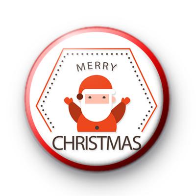Red Santa Claus Merry Christmas Badge