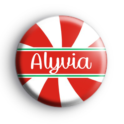 Custom Candy Cane Name Red and White Badge
