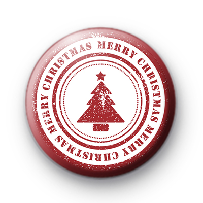 Red and White Xmas Tree Merry Christmas Badge
