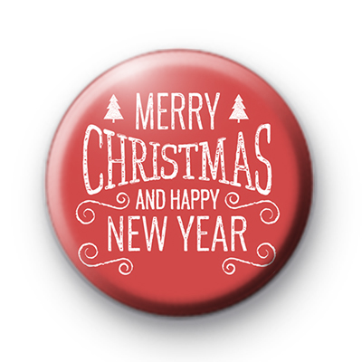 Red and White Merry Christmas and Happy New Year Badge