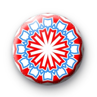 Red and Blue Kaleidoscope Button Badges