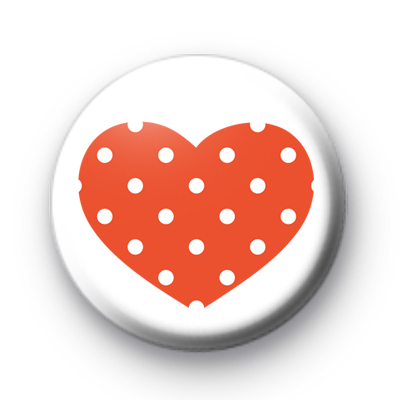 Red and White Polka Dot Heart badge
