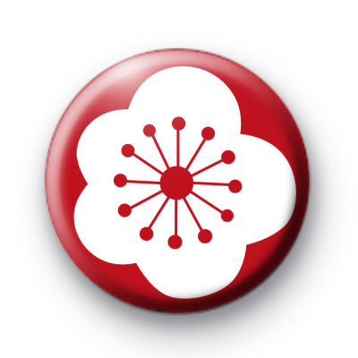 Red and White Poppy Flower Pin Badge