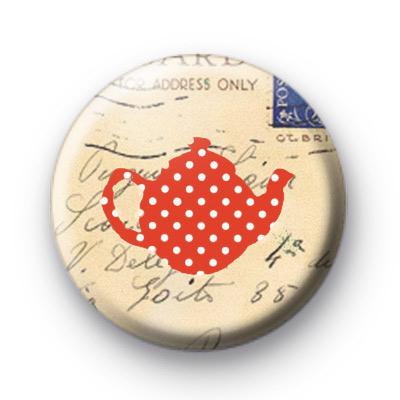 Red dotty spott teapot button badges