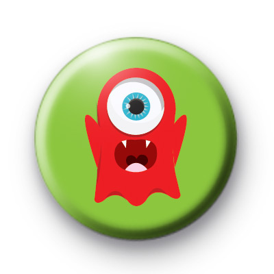 Red One Eyed Monster Button Badges