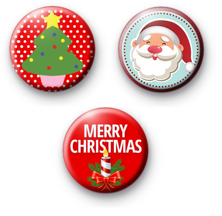 Set of 3 Red Festive Christmas Badges