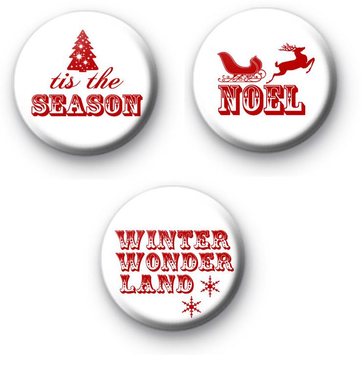 Set of 3 Festive Sayings Badges