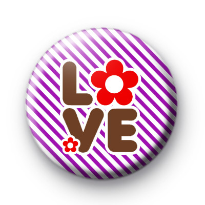 Red Flower Power LOVE Badges