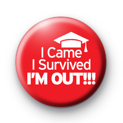 Red I Survived School Button Badge