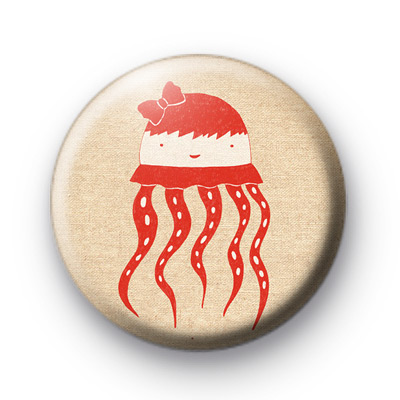 Red Human Jelly Fish Badge