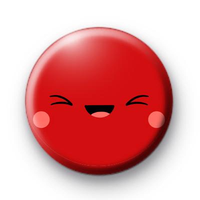 Red Kawaii Smiley Face Badge