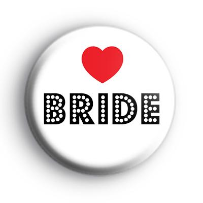 Red Love Heart Bride Wedding Badge