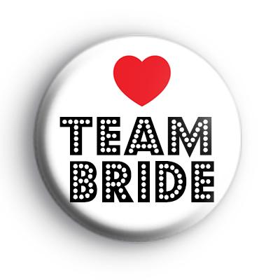 Red Love Heart TEAM BRIDE Badge