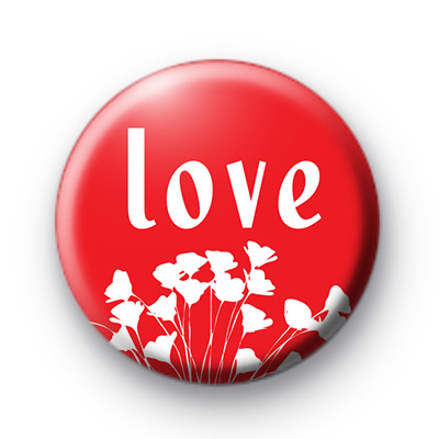 Red Love and Flowers Button Badges