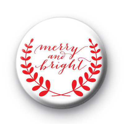 Red Merry & Bright Christmas Badge
