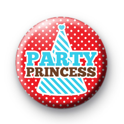 Red Party Princess Button Badges