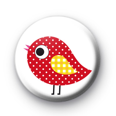 Cute Red Polka Dot Bird Button Badge