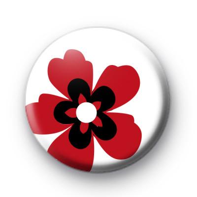 Red Poppy Style Flower Badge