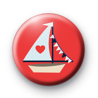Red Sail Boat Pin Button Badge