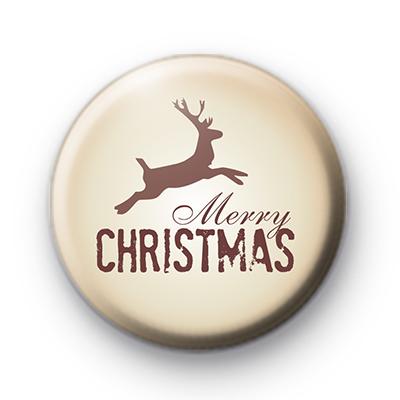 Merry Christmas Brown Reindeer Badge