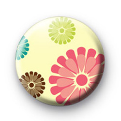 Retro Floral Pattern Badges