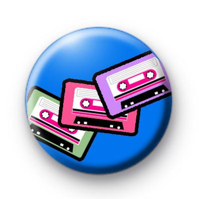 Retro Tapes Blue Button Badges
