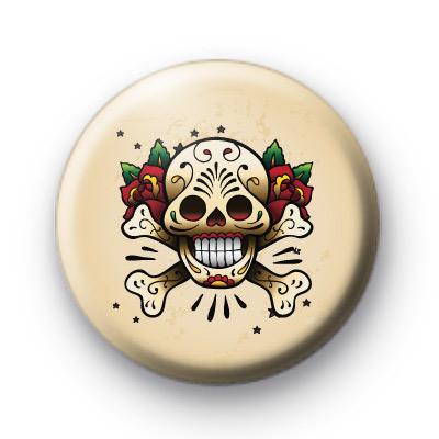 Old School Tattoo Skull Button Badges