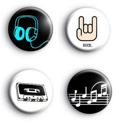 Set of 4 ROCK Music Badges