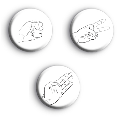 Set of 3 Rock Paper Scissors Badges