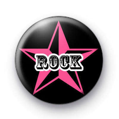 Rock On Pink Button Badges