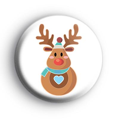 Round Reindeer Christmas Badge