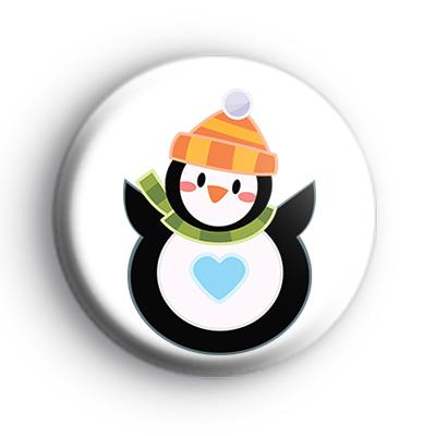 Round Festive Penguin Badge