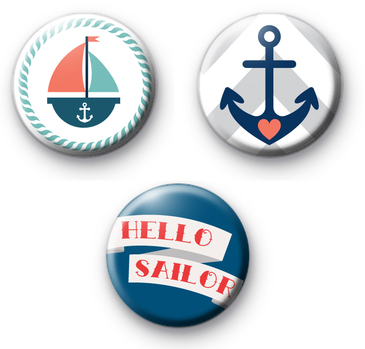 Set of 3 Nautical Sailor Themed Badges