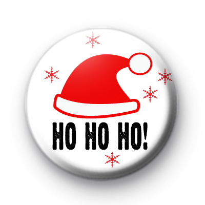 Santa Red Hat HO HO HO Badge
