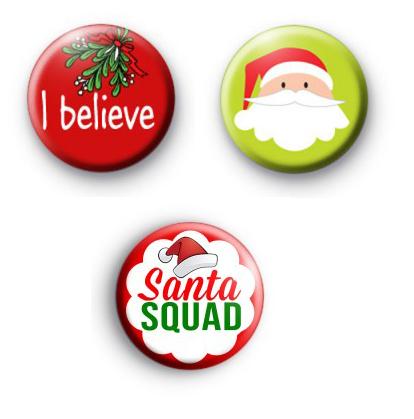 Set of 3 Santa Claus Button Badges
