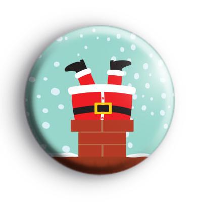 Santa Stuck Down The Chimney Badge