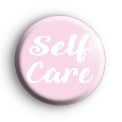 Pink Self Care Button Badge