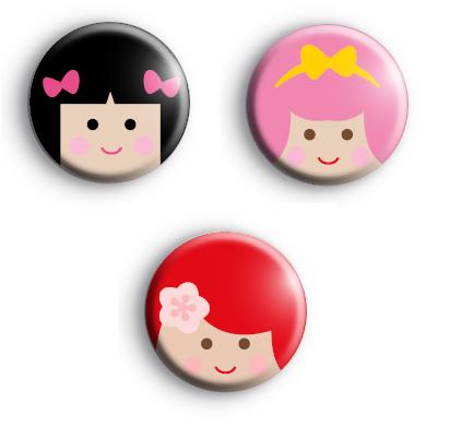 Cute Set of 3 Kawaii Girls Badges