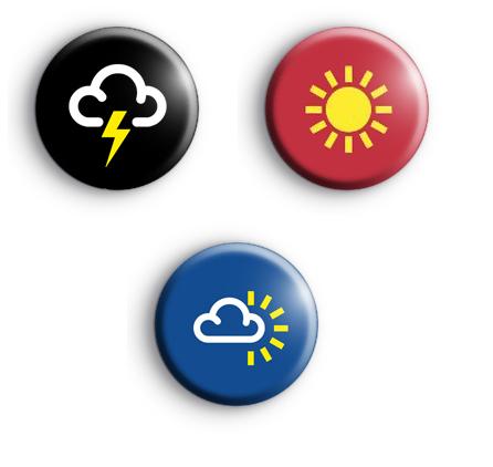Set of 3 Weather Symbols Badges