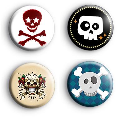 Set of 4 Skull Badges