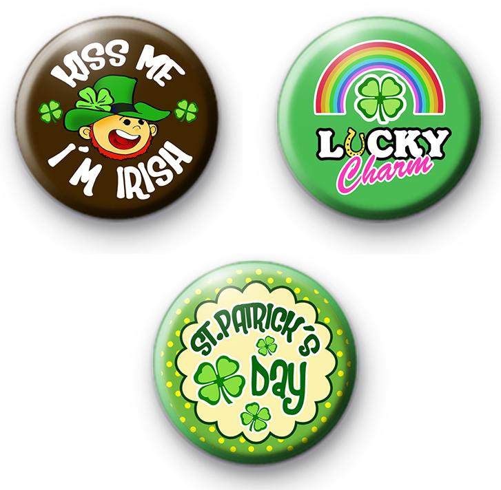 Set of 3 Fun St Patricks Day Pin Badges