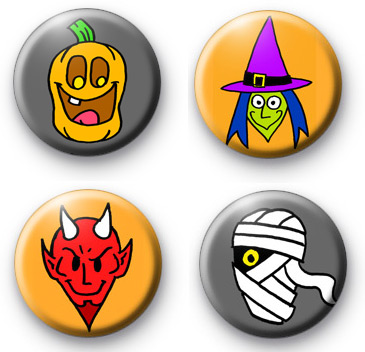 Set 4 Creepy Halloween Badges