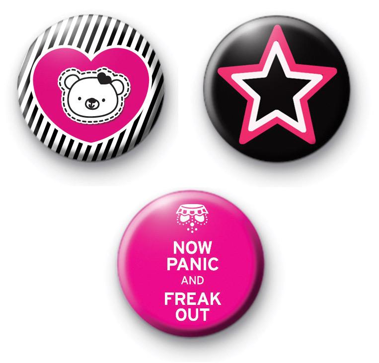 Set of 3 Pink and Black Badges