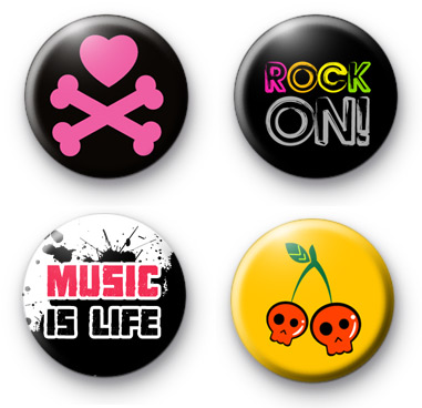 Set of 4 Bright ROCK Music badges