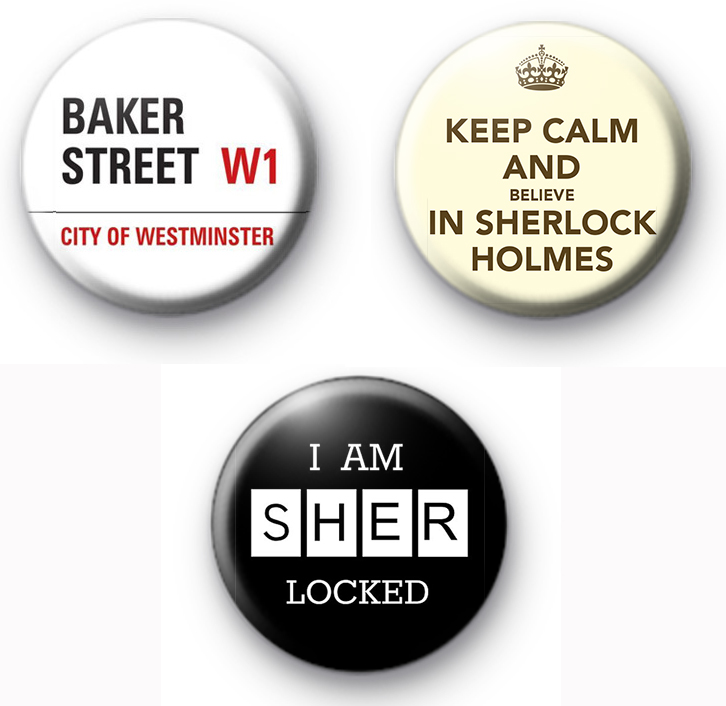 Set of 3 Sherlock Holmes Button Badges