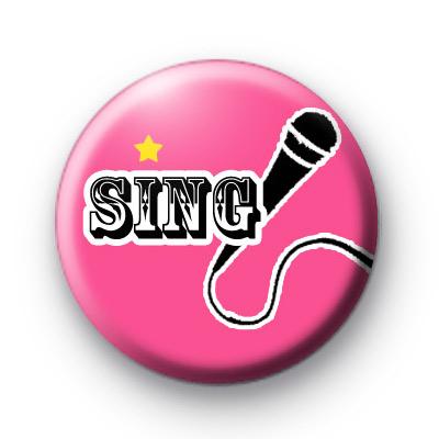 Pink Sing Microphone Badges